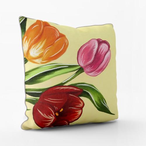 """Dekoratyvinė pagalvėlė - paveikslas """"Tulpės žydi"""""""